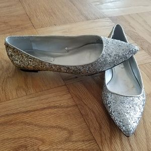 Silver & Gold Glitter Pointed Toe Flats